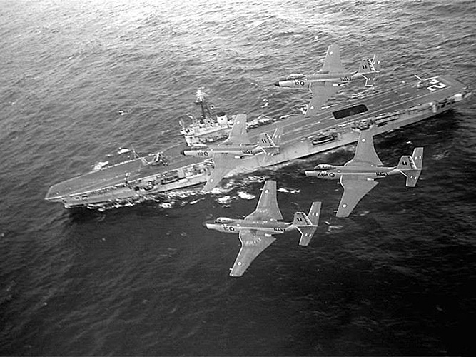 McDonnell Douglas Banshee flying over HCMS Bonaventure