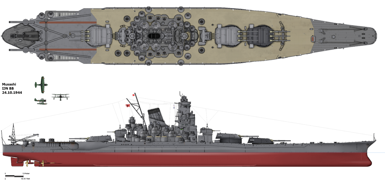 IJN Musashi in 1944, at the time she was lost