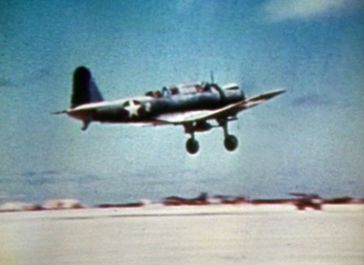 SB2U taking off from Midway in June 1942