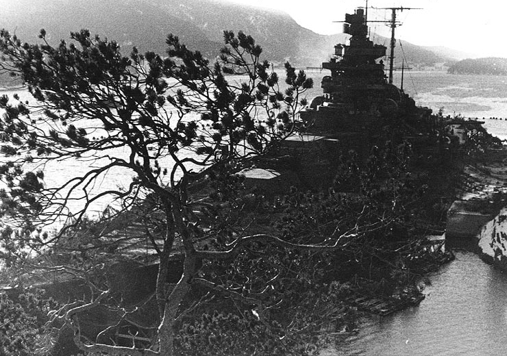 Tirpitz camouflaged in the Fættenfjord