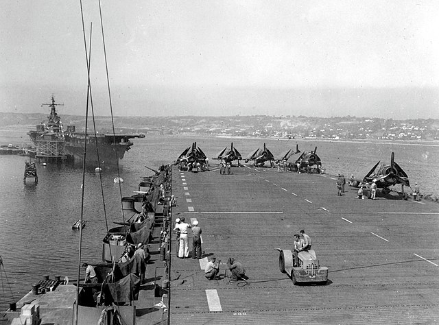 USS Ranger seen from USS Shamrock Bay at naval air station, North Island, August 1945