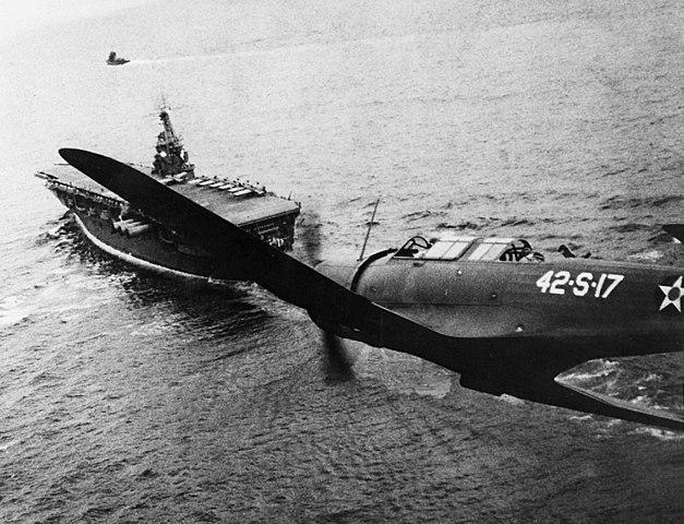Vought SB2U of VS-42 in flight over USS Ranger CV-4 on 4 December 1941