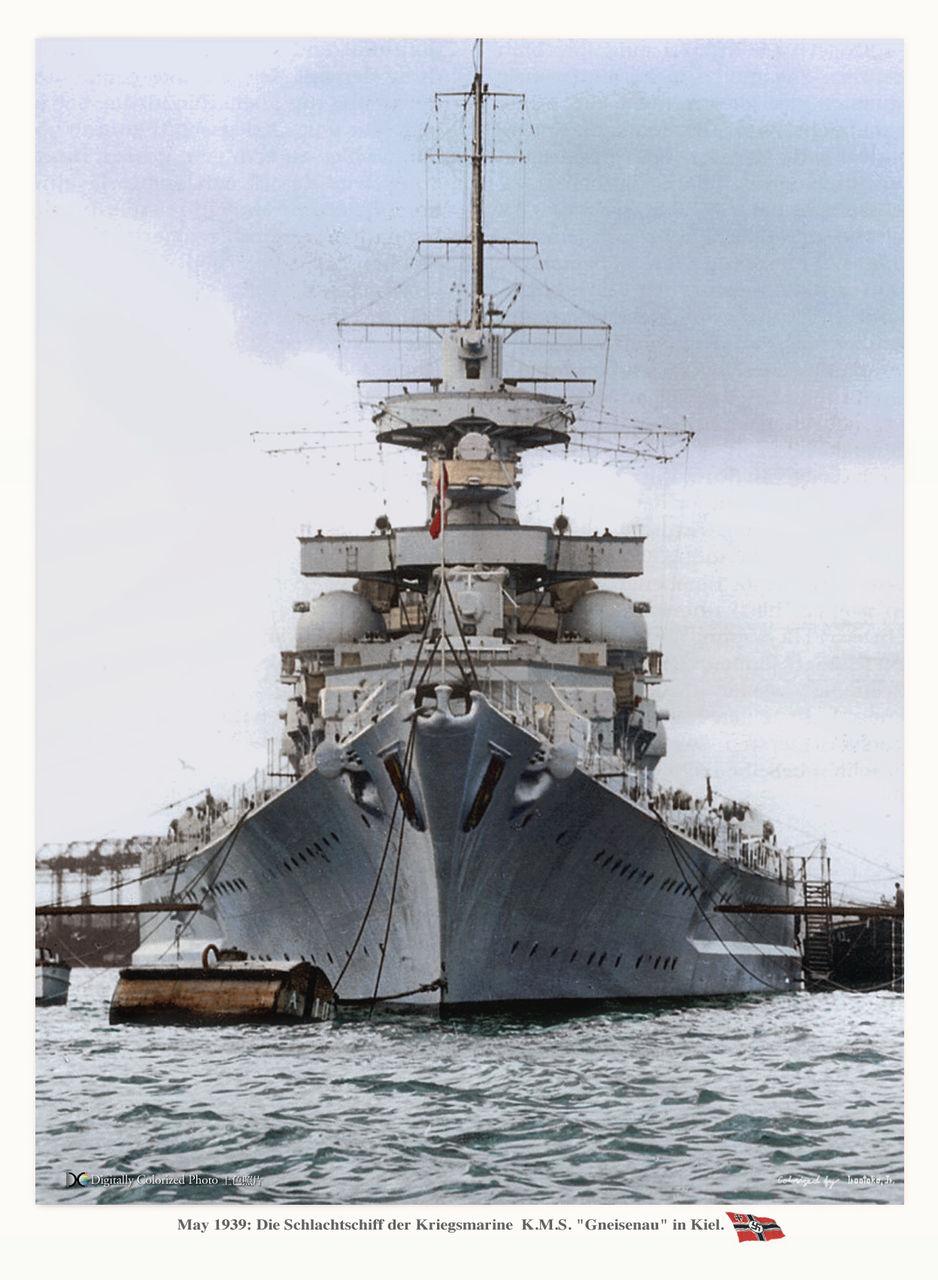 KMS Gneisenau bow at Kiel in 1939