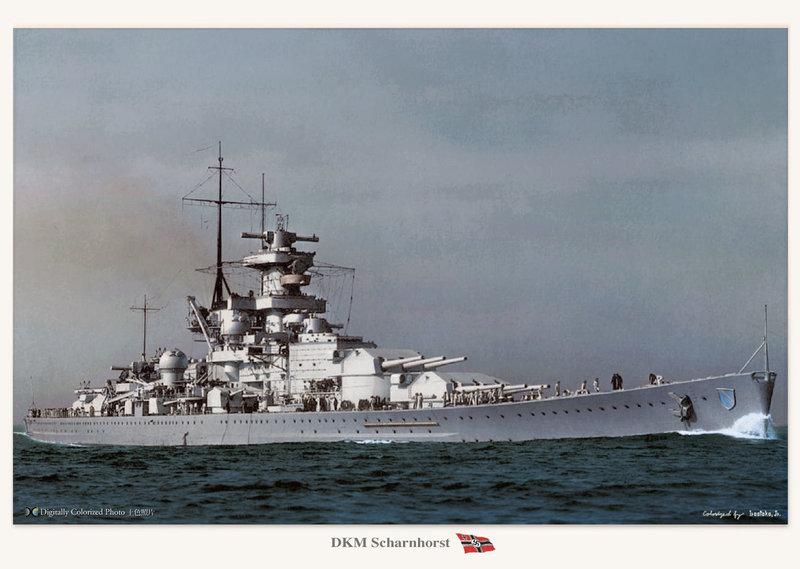 KMS Scharnhorst in trials, 1939 - colorized by Irootoko Jr.