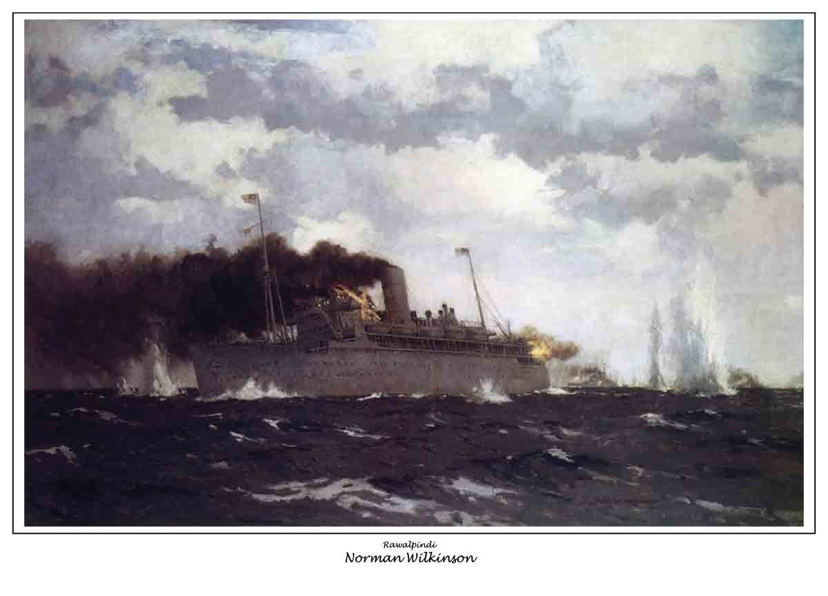 The sinking of Rawalpindi, famous painting by Norman Wilkinson