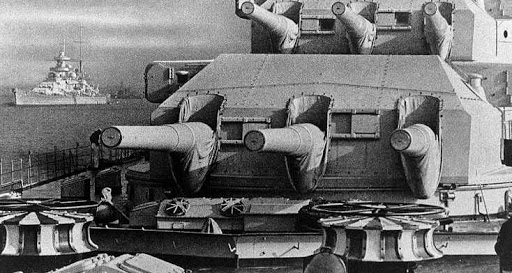 28 cm turrets of KMS Scharnhorst, with Gneisenau in the background