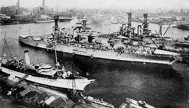 Colliers in 1921 nearby USS Tennessee at Brooklyn Navy yard