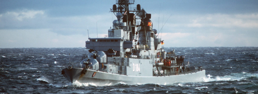bow view of the West German Hamburg Class Destroyer FGS Hessen