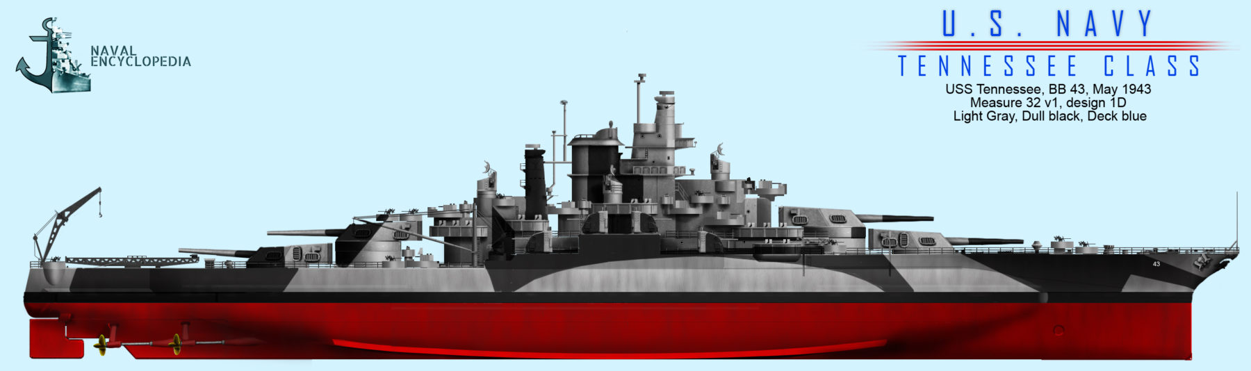 USS Tennessee May 1943, Measure 32v1, design 1D