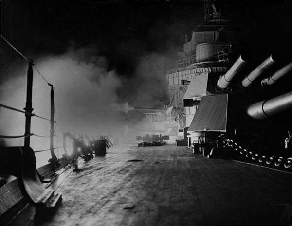 Night firing by USS California