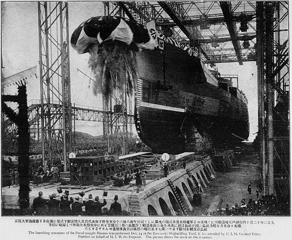 Launch of IJN Haruna, December 1913