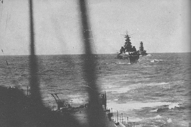 Kondos bombardment force heads towards Guadalcanal during the day on 14 November