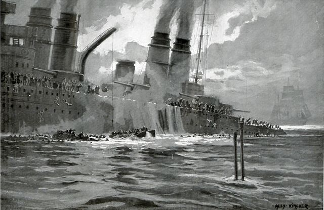 German postcard depicting the sinking of the Leon Gambetta