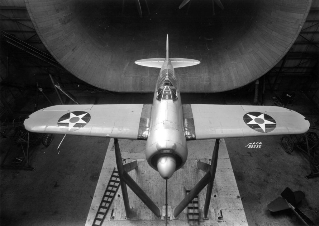 The famous XF2A-1 NACA wing tunnels trials