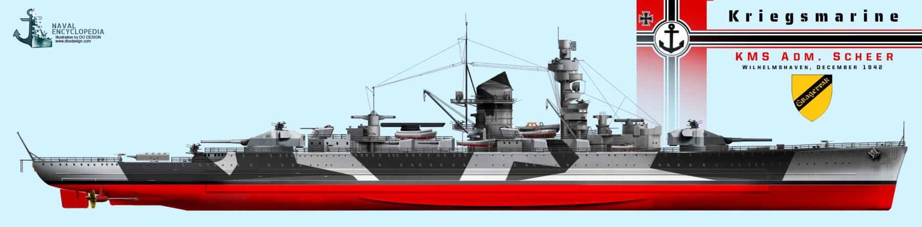 KMS Admiral Scheer, Wilelmshaven, December 1942, major modernization