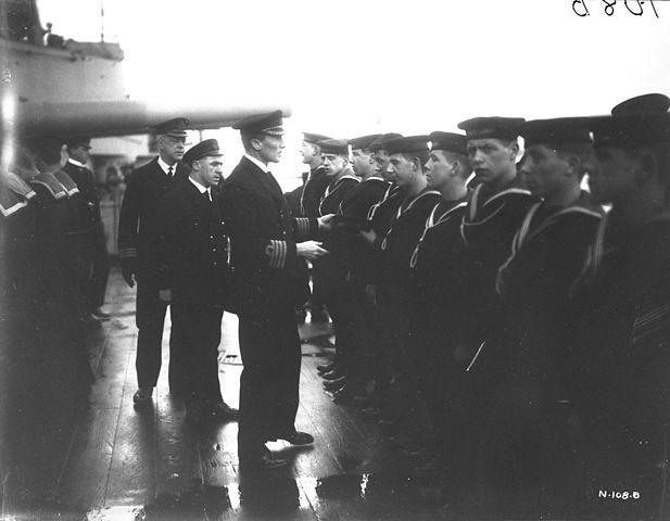 Sunday_morning_inspection_on_HMS_Canada_Feb_1917
