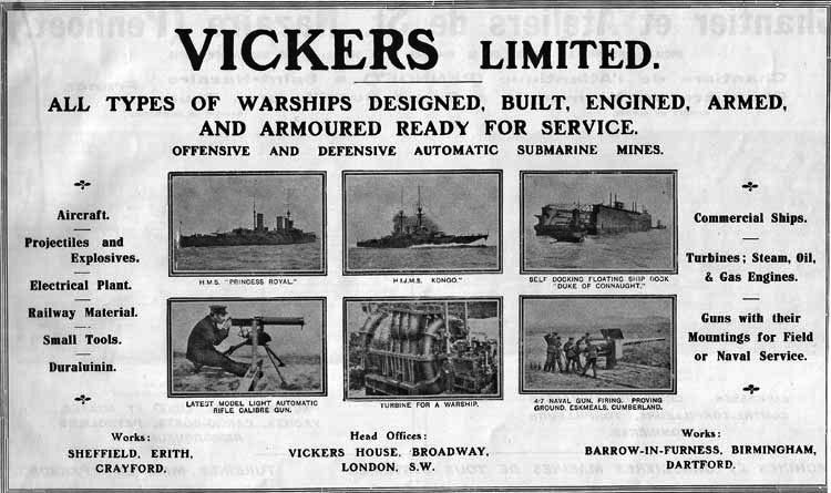 Vickers Advertisement in Janes 1914 showing the Kongo
