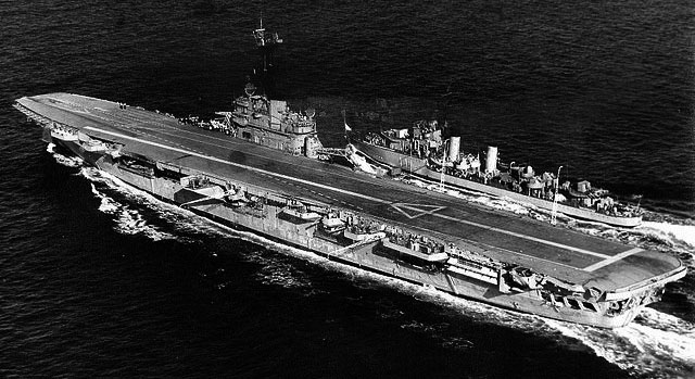 ARA Misiones (T-11) escorting the carrier Independencia