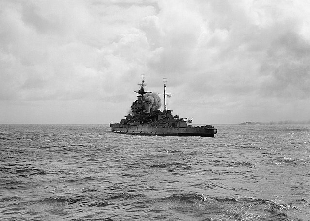 Warspite off the coast of Normandy, 6 June 1944