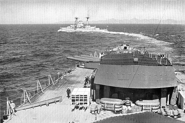 Warspite at sea before her second refit, circa 1935, as seen from Rodney