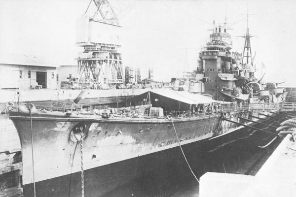IJN Ashigara drydocked in Singapore, 1942