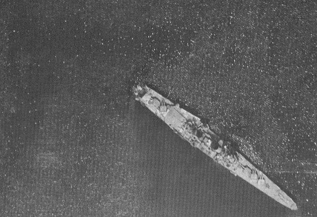 Myoko in Singapore, aerial reco photo, 1945