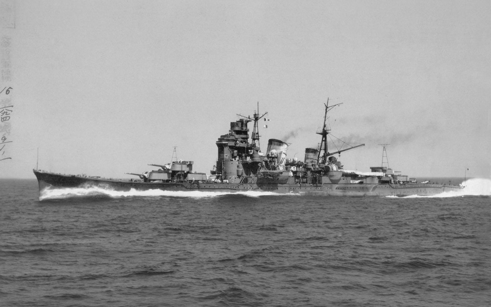 IJN Myoko post-reconstruction in sea trials, 1941