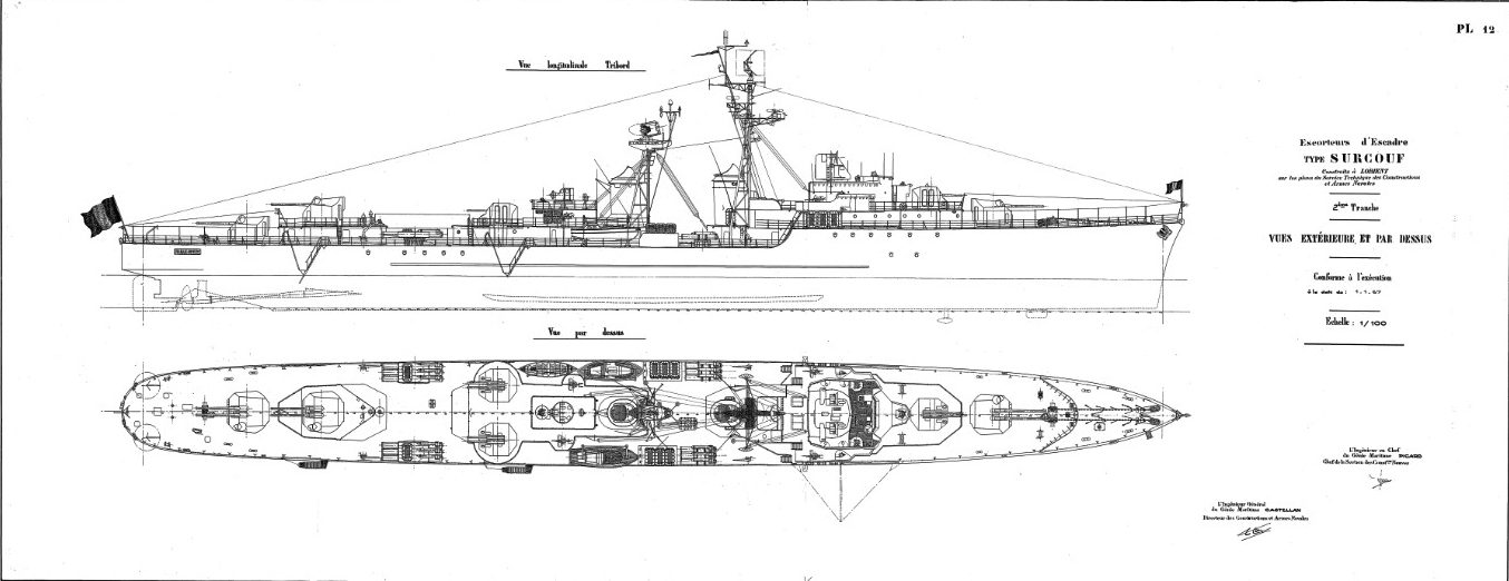 Blueprint of the class in its first design, 1949