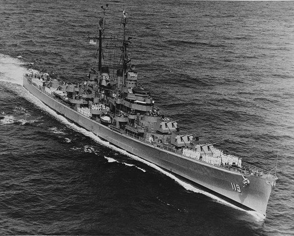 USS Juneau (CL-119) underway on 1st July 1951