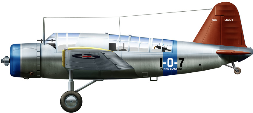 OS2U-1 on BB36, October 1940