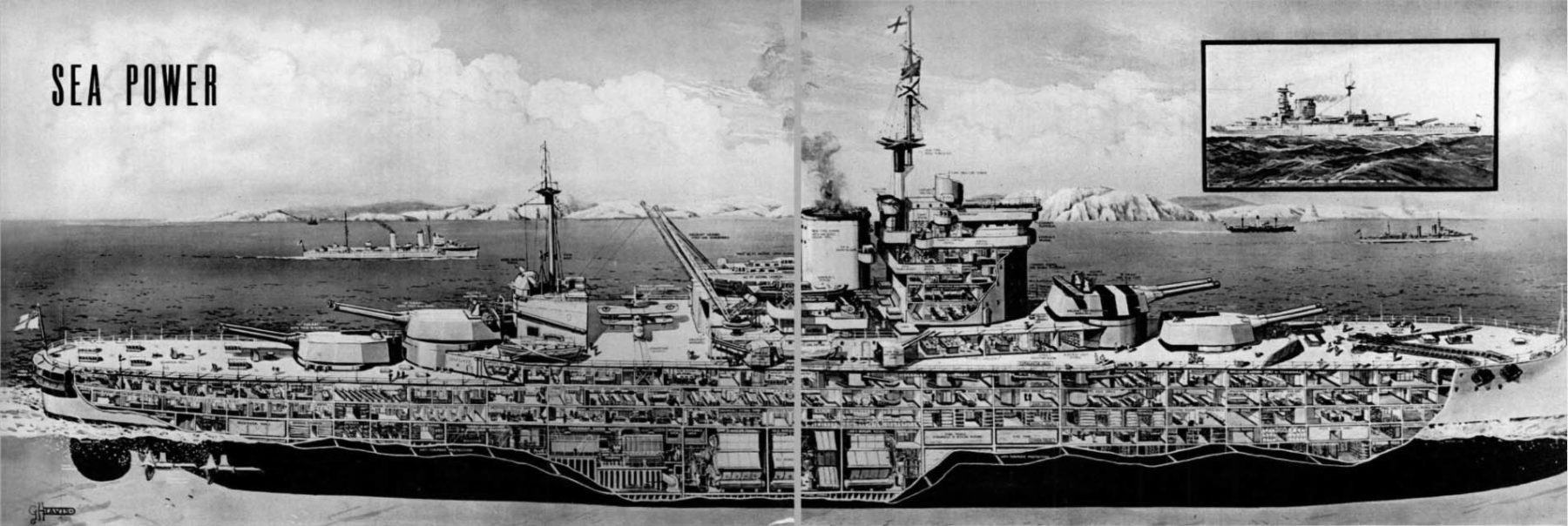 1938 UK magazine article about sea power showing a cutaway of the Warspite