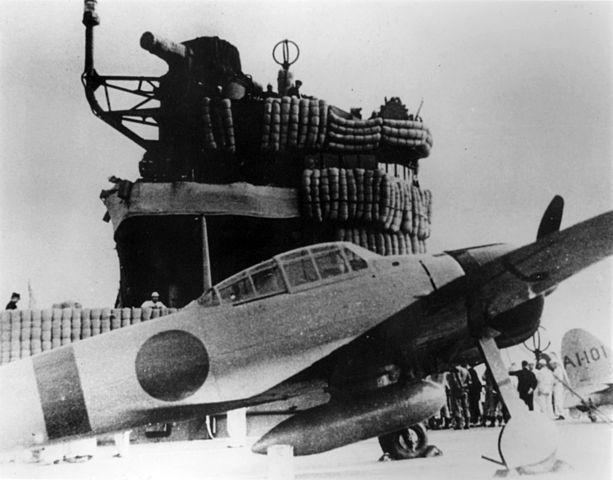 A6M Zero fighter in front of IJN Akagi's bridge