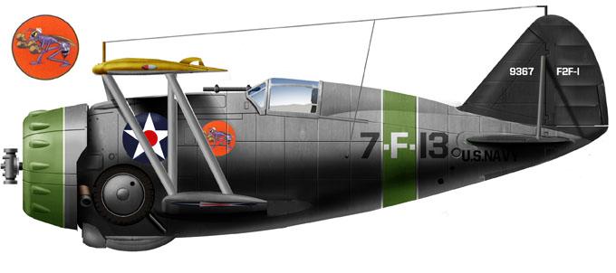Grumman F3F-1 of VF-7, Neutrality Patrols, USS Wasp, late 1940