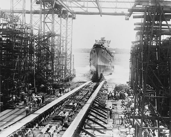 Launch of USS San Diego at Fore River Shipyard, 26 July 1941