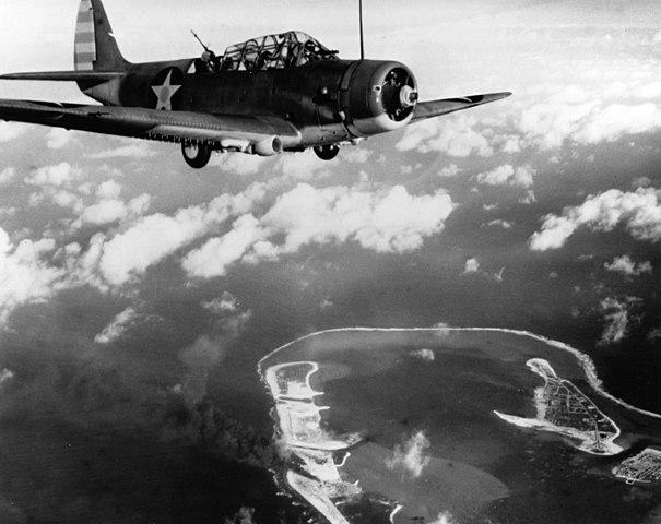 TBDs of VT-6 over Wake Island, 1942