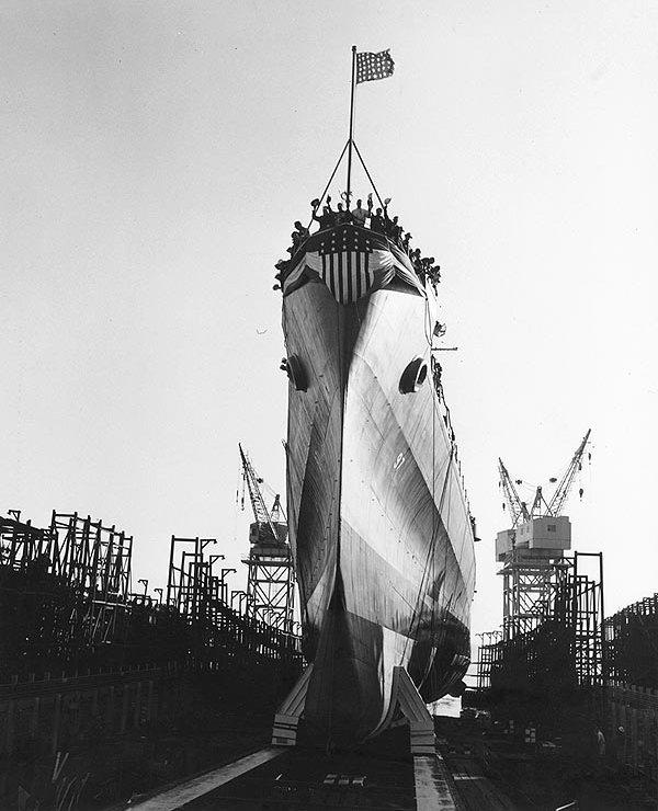 Launch of USS Flint, 25 Jan. 1944