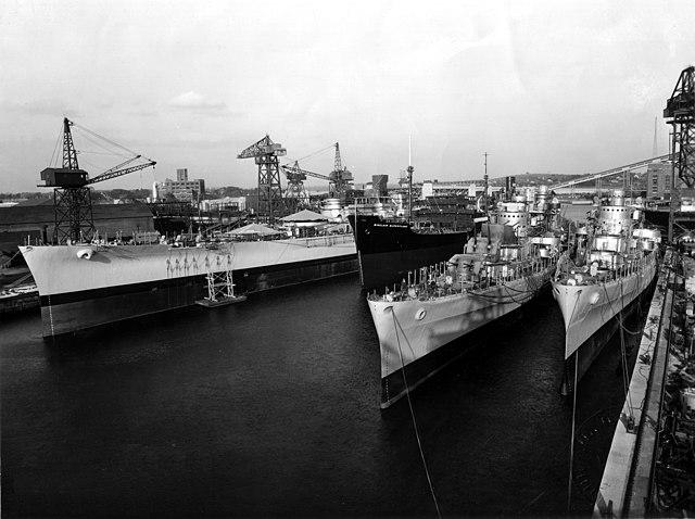 USS_Massachusetts_San_Diego_and_San_Juan_Fore_River_Shipyard_1941