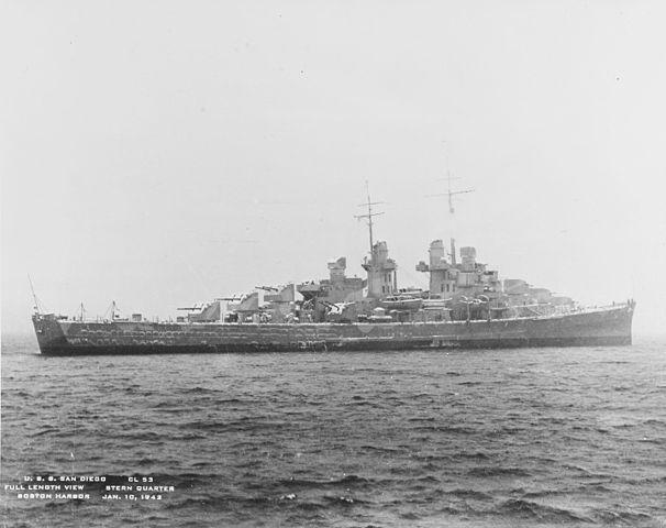 USS San Diego off Boston, 10 January 1942
