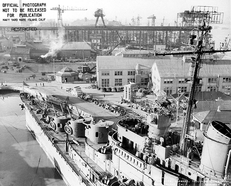 USS San Diego in the arsenal of Mare Island, late 1945, showing its armament details