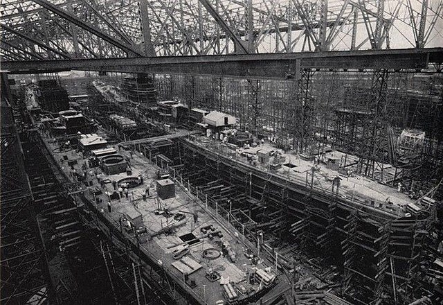 San Diego and San Juan under construction at Fore River Shipyard in early 1941