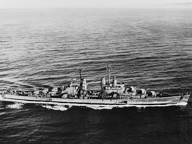USS San Diego underway, 8 March 1944