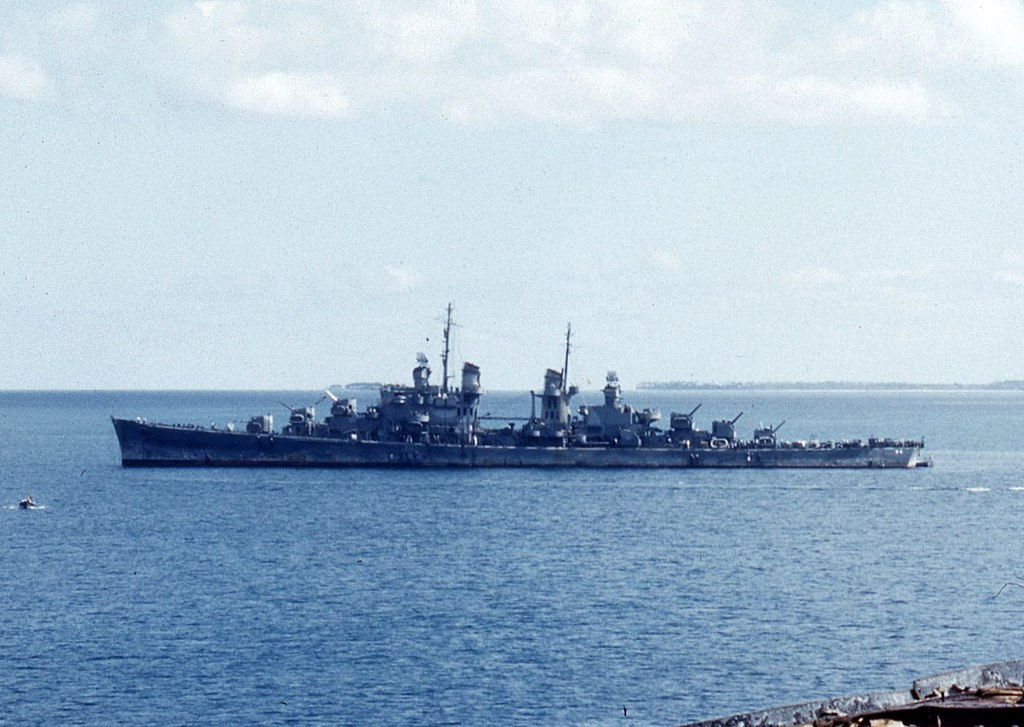 Colorized photo of USS San Juan in Tonga in August 1942