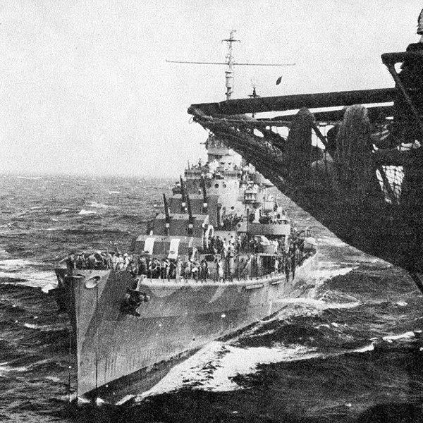 USS San Juan coming alongside USS wasp in August 1942