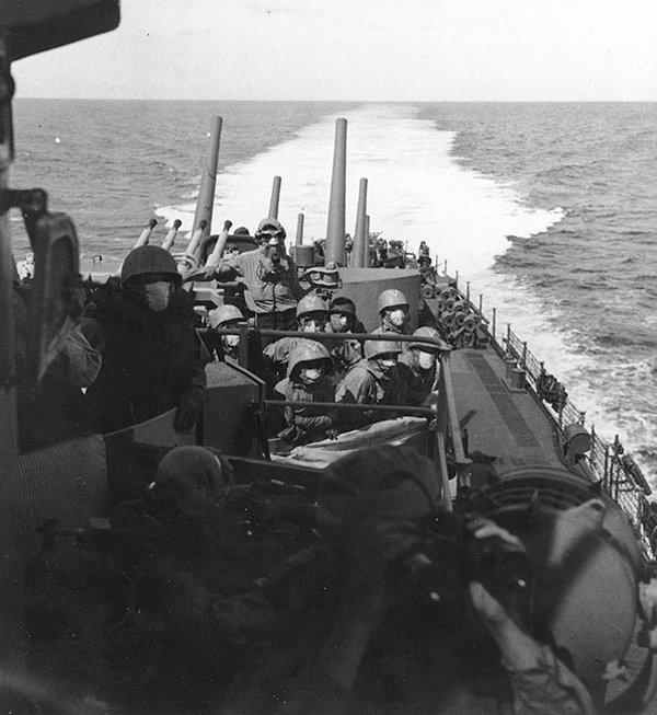 The crew of San Juan at general quarters