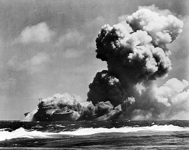 Wasp on fire shortly after being torpedoed.