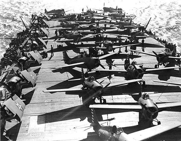 Spitfires and Wildcats aboard Wasp on 19 April 1942