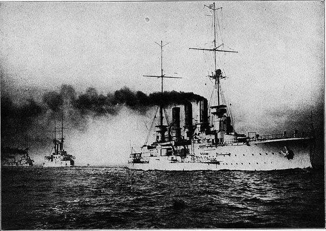 Both Prinz Adalbert class cruisers in fleet execises