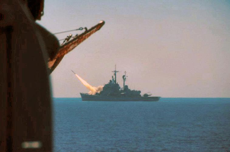 Andrea Doria firing her terrier missile
