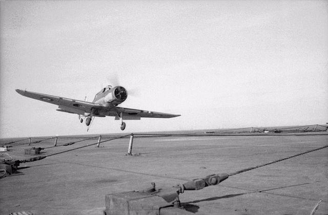 Blackburn Skua landing on Ark Royal in 1940
