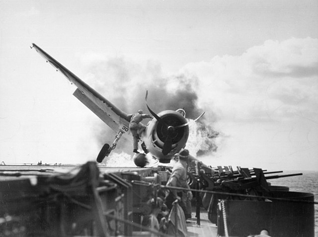 A F6F Hellcat crash lands on the flight deck on 10 November 1942
